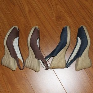 Lot of Wedge Shoes Blue/Brown Size 8